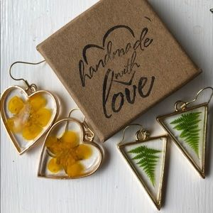Buttercup and fern earrings casted in resin